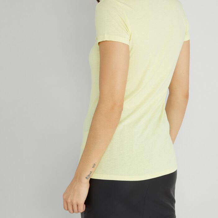 T-shirt uni à col rond femme jaune fluo
