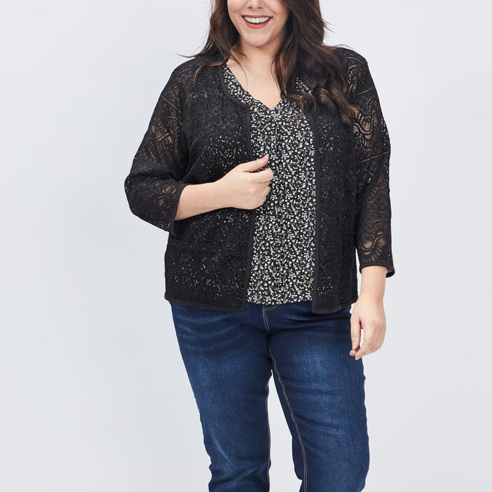 Gilet ajouré grande taille femme grande taille noir