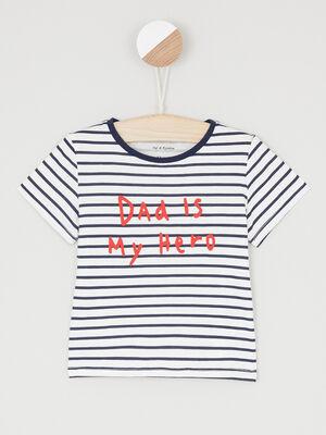 T shirt imprime place devant ecru garcon