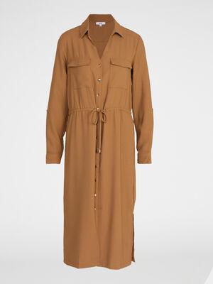 Robe chemise boutonnee beige femme