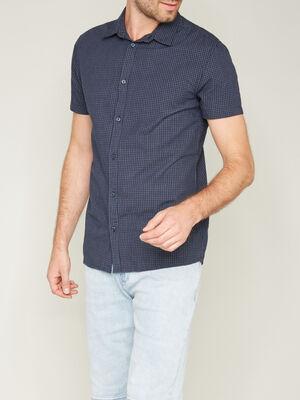 Chemise en coton a carreaux bleu marine homme