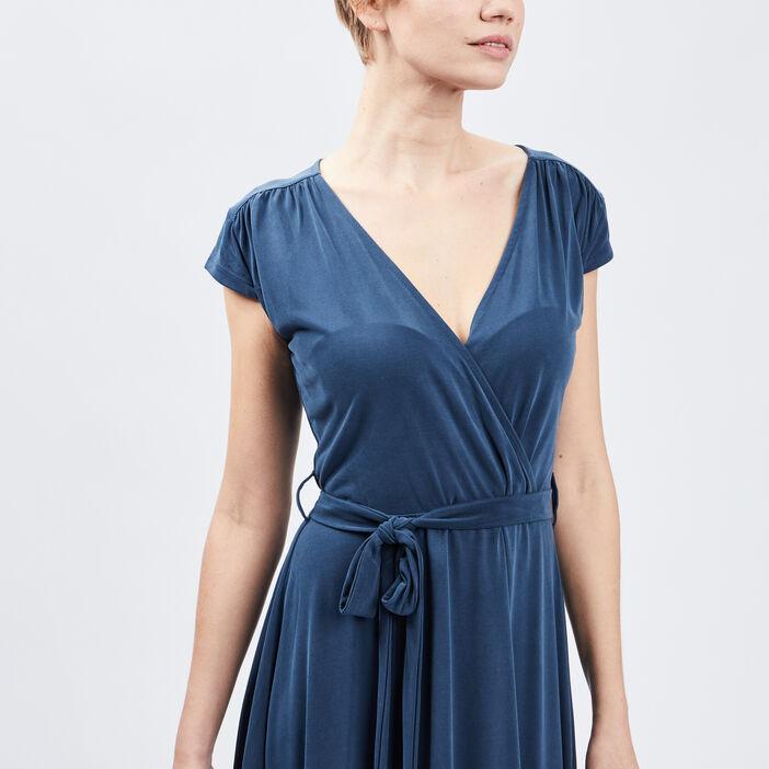 Robe évasée ceinturée femme bleu