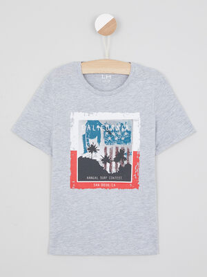 T shirt manches courtes gris clair garcon