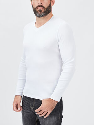 T shirt manches longues blanc homme