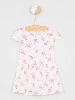 Robe fleurie a manches courtes rose clair fille