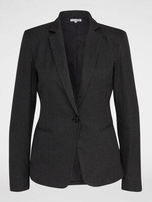 Veste cintree a motifs gris fonce femme