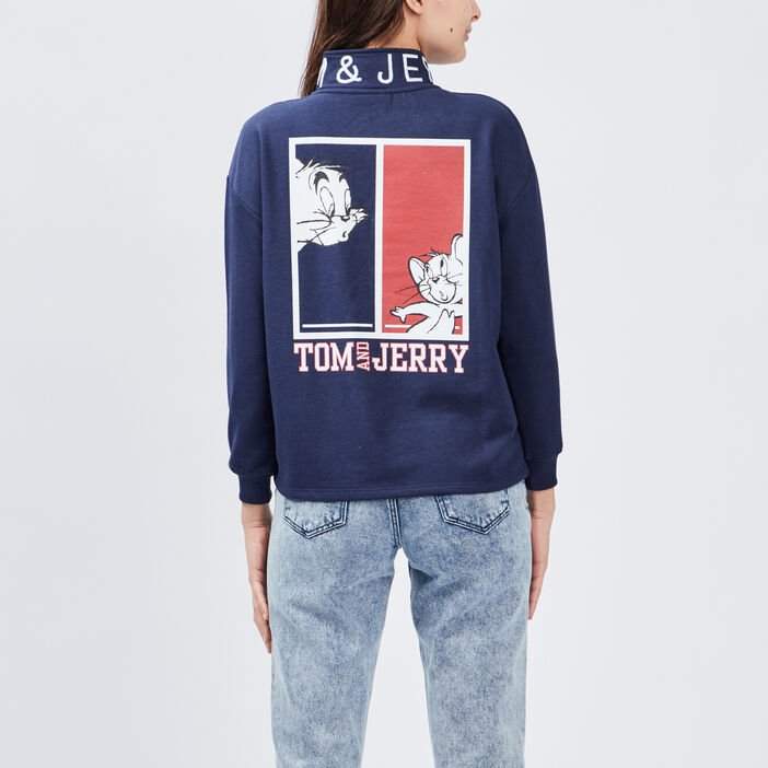 Sweat Tom et Jerry femme bleu marine