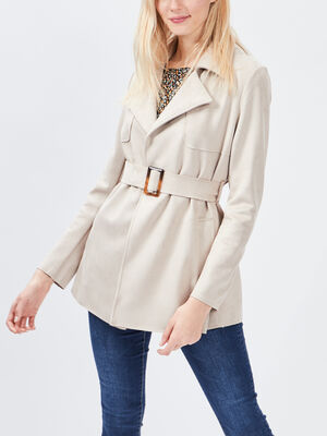 Manteau droit ceinture suedine beige femme