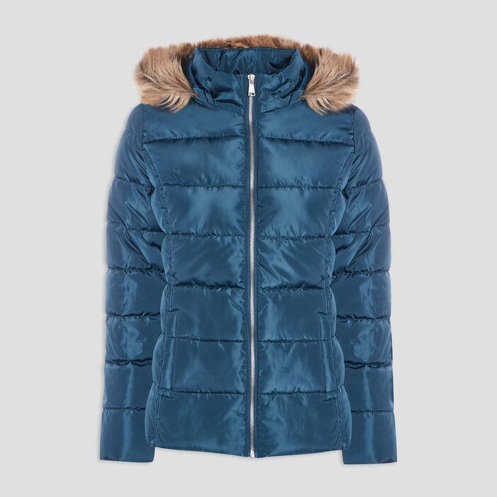 Doudoune droite à capuche femme bleu canard