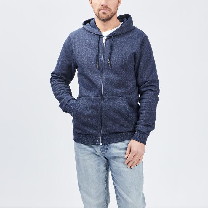 Gilet zippé à capuche homme bleu marine