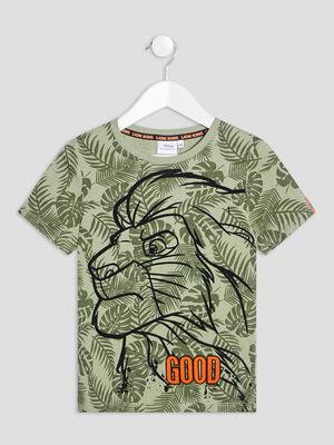 T shirt Le Roi lion vert kaki garcon