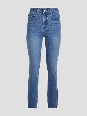 Jeans slim fendu denim stone femme