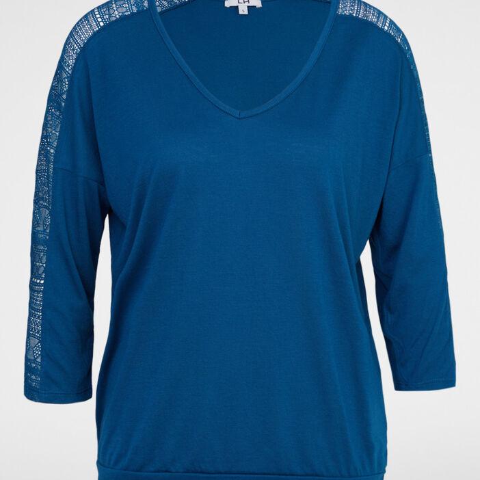 T-shirt manches 3/4 femme bleu canard