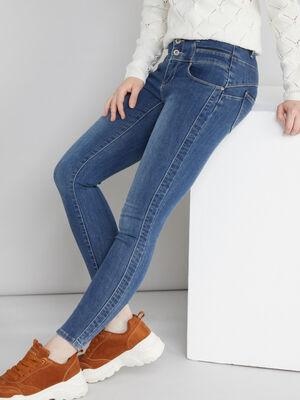 Jean skinny avec decoupes denim stone femme