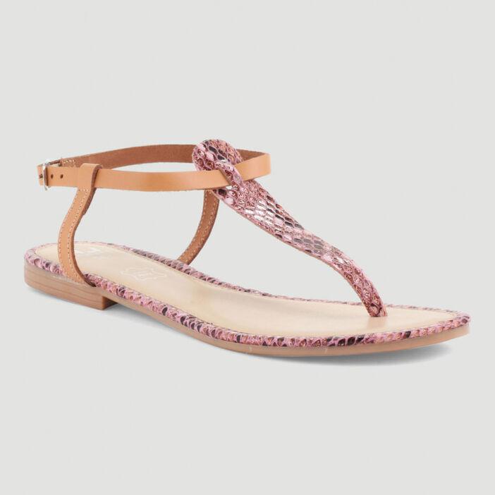 Sandales dessus cuir à entredoigt femme rose