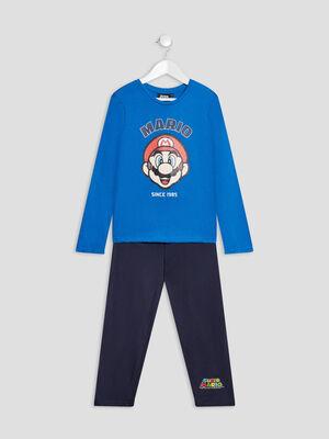 Ensemble pyjama Mario bleu garcon