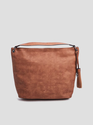 Sac trapeze a pampille marron femme