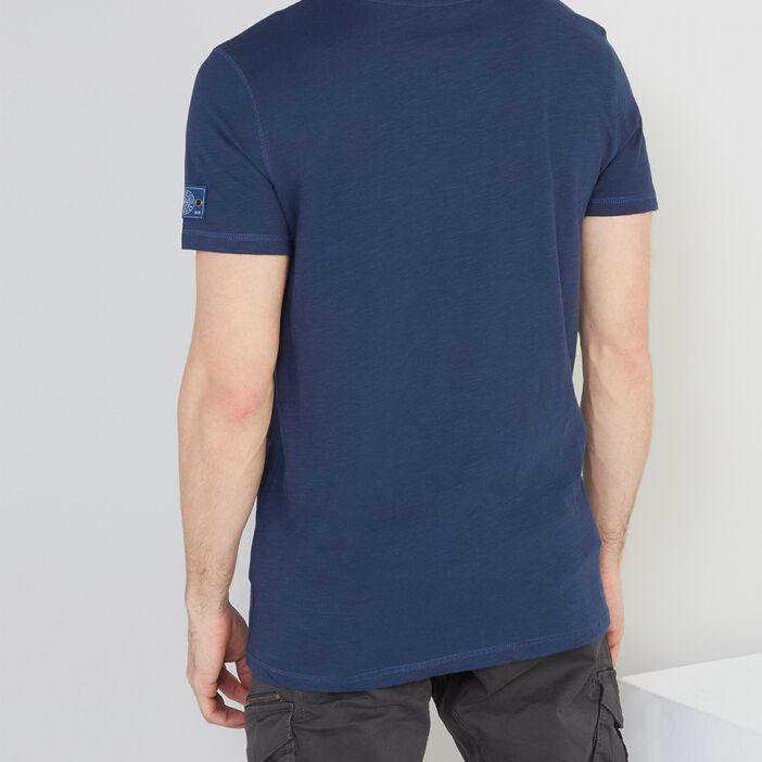 T-shirt en coton col tunisien homme bleu marine