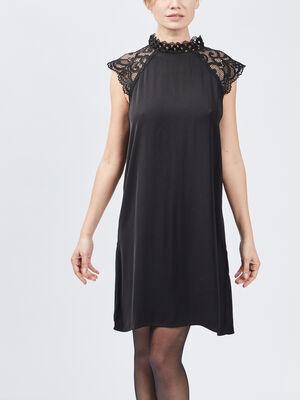 Robe droite avec dentelle noir femme