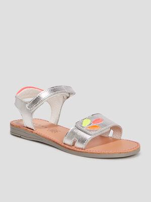 Sandales en cuir Creeks couleur argent fille