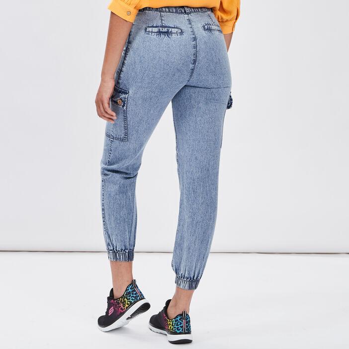 Jeans battle taille haute femme bleu