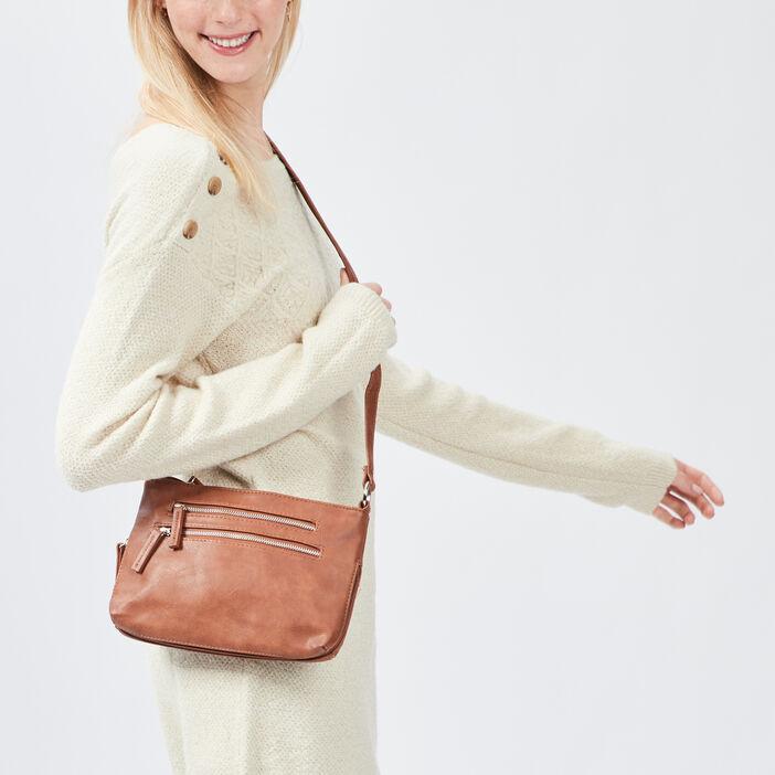 Sac rectangulaire zippé femme marron