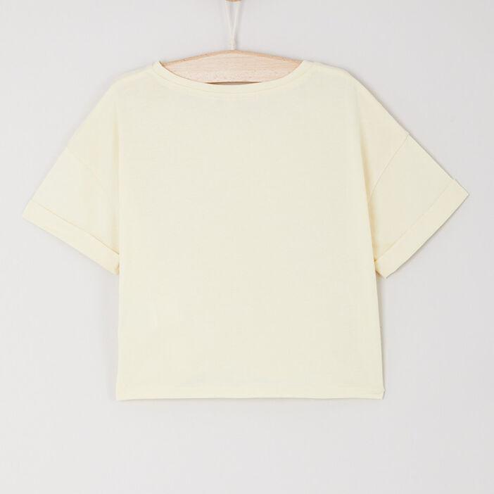 T-shirt court imprimé en coton fille jaune moutarde