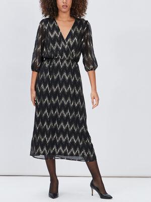 Robe longue droite fluide noir femme