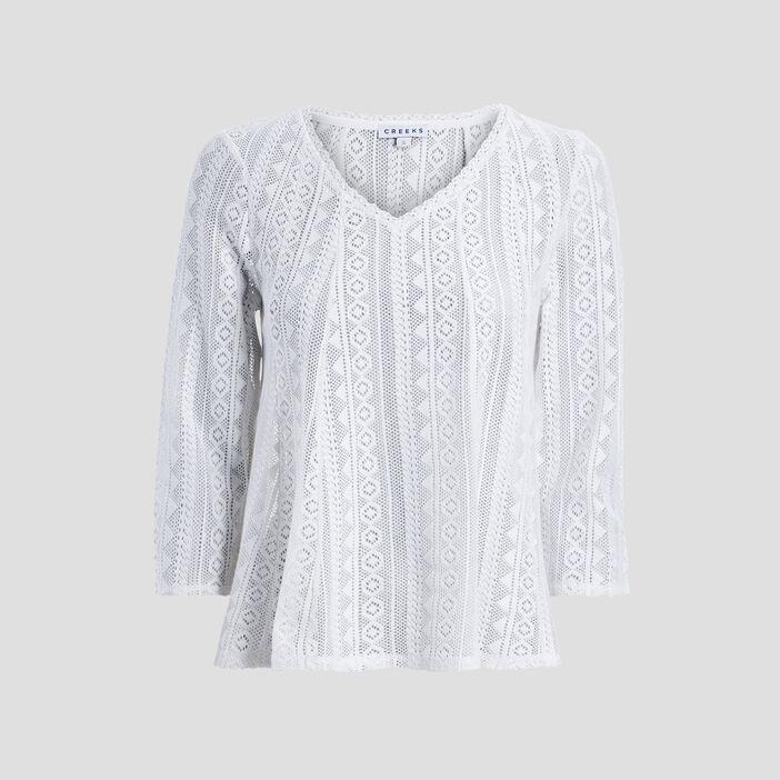 T-shirt manches 3/4 femme ecru