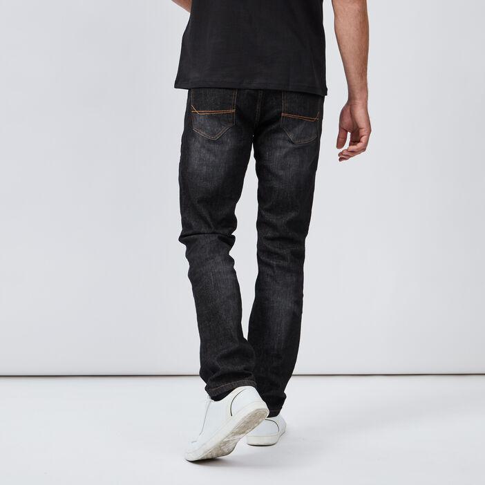 Jeans regular effet délavé homme noir