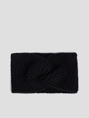 Bandeau tricote noir femme
