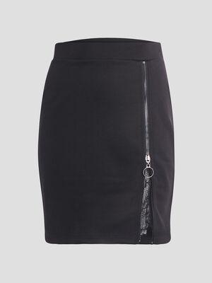 Jupe ajustee detail zippe noir femme