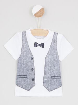 T shirt dessin trompe loeil devant blanc garcon