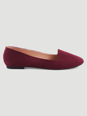 Ballerines unies esprit mocassins bordeaux femme