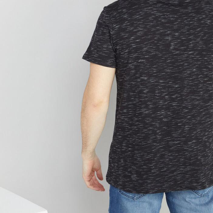 T-shirt col V chiné homme noir