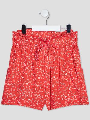 Short droit taille elastiquee rouge fille