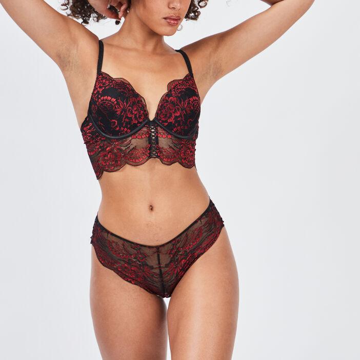 Soutien-gorge triangle plunge femme rouge