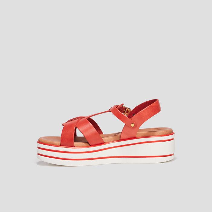 Sandales compensées fille rouge