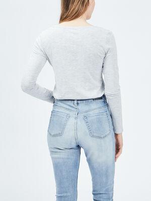 T shirt manches longues gris femme