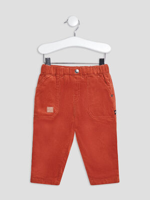 Pantalon droit taille elastiquee terracotta bebeg