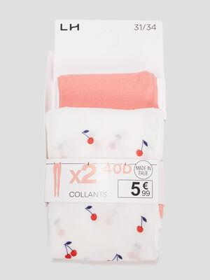 Lot 2 paires collants orange corail fille