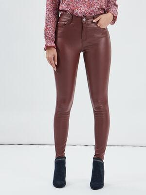 Pantalon enduit skinny taille haute bordeaux femme