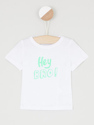 T shirt col rond message devant multicolore garcon