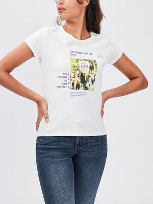 T shirt manches courtes Creeks ecru femme