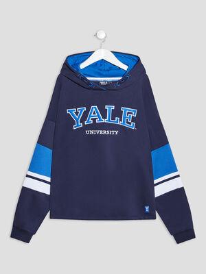 Sweat a capuche Yale bleu marine fille