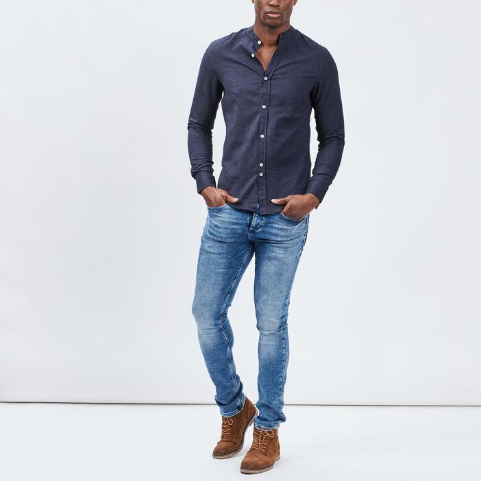 Chemise manches longues homme bleu marine