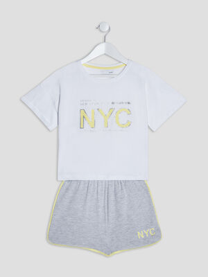 Ensemble de pyjama 2 pieces blanc fille