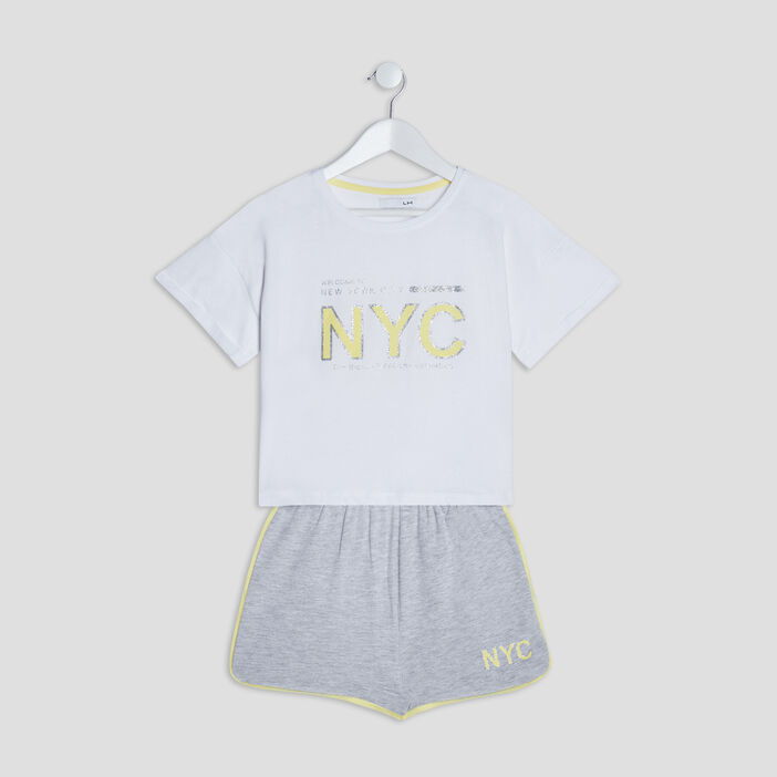 Ensemble de pyjama 2 pièces fille blanc