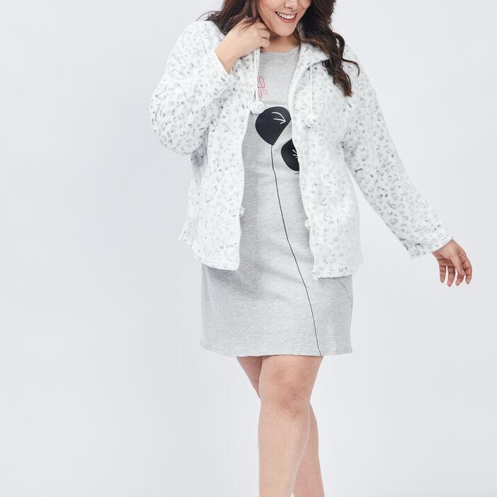 Chemise de nuit grande taille femme grande taille gris clair