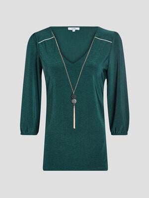 T shirt manches 34 vert femme